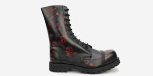 Underground Original Steel Cap Commando red and black rub-off leather combat boot for men and women