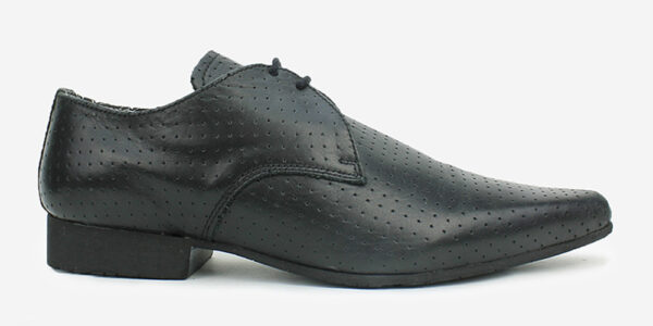 Underground England Paul Winklepicker perforated black leather shoe for men and women