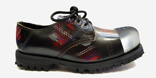 Underground England Tracker tartan rub-off leather external steel toe cap leather shoe for men and women