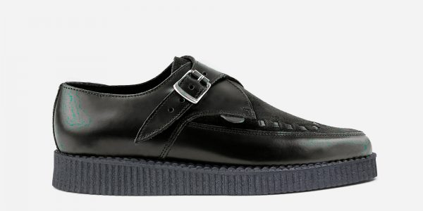 black leather and suede pointed creeper