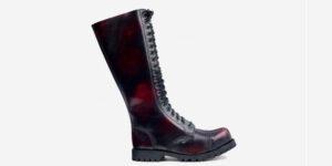 Underground Original Steel Cap Gripper burgundy rub-off leather knee length combat boot for men and women