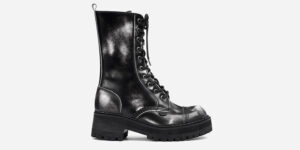 UNDERGROUND LEX CHUNKY BOOT – BLACK & WHITE RUB-OFF LEATHER – CUSTOM MADE COMBAT BOOTS FOR MEN AND WOMEN