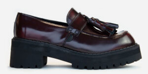 UNDERGROUND LEX – ORIGINAL CHUNKY TASSLE LOAFER – BURGUNDY RUB-OFF LEATHER SHOES FOR MEN AND WOMEN