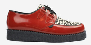 Underground Original Wulfrun Creeper red patent leather and leopard print shoe for men and women