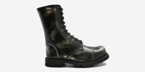 COMMANDO 10 EYELET STEEL CAP BOOT – BLACK & WHITE RUB-OFF LEATHER – SINGLE SOLE – CUSTOM MADE