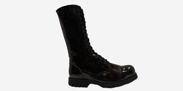 Underground Original Steel Cap Ranger black patent leather combat boot for men and women