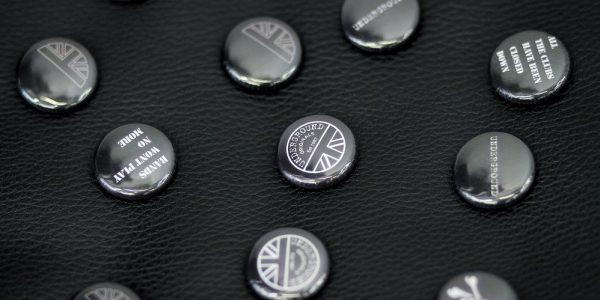Underground England Harmony button badge black and white
