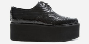 UNDERGROUND BARFLY CREEPER – BLACK CROCODILE EMBOSSED LEATHER – TRIPLE SOLE – CUSTOM MADE FOR MEN AND WOMEN