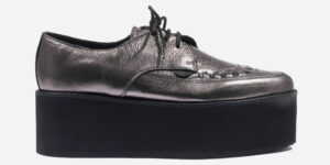 UNDERGROUND BARFLY CREEPER – METALLIC PEWTER LEATHER – TRIPLE SOLE – CUSTOM MADE SHOES FOR MEN AND WOMEN