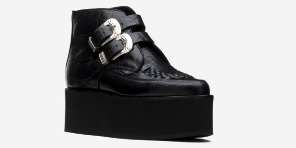 UNDERGROUND BOWIE CREEPER – BLACK CROCODILE LEATHER – TRIPLE SOLE – CUSTOM MADE FOR MEN AND WOMEN