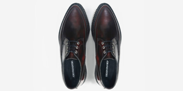 UNDERGROUND BARFLY CREEPER – BURGUNDY RUB-OFF LEATHER – SINGLE SOLE – CUSTOM MADE FOR MEN AND WOMEN