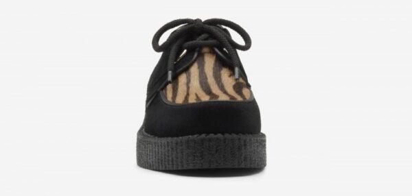 Underground Original Wulfrun Creeper black suede and cappuccino zebra print pony hair shoe for men and women