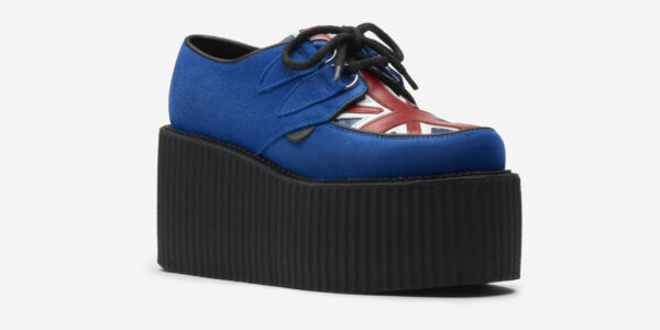Underground Original Wulfrun Creeper royal blue suede and Union jack print leather shoe for men and women