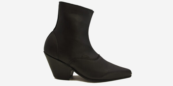 Underground England Marlon Winklepicker black leather boot with zip for men and women