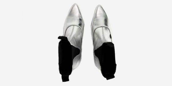 Underground England Freddy Winklepicker metallic silver leather boot for men and women
