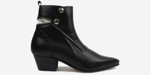 Underground England Jules Winklepicker black grain leather and steel zip boot for men and women