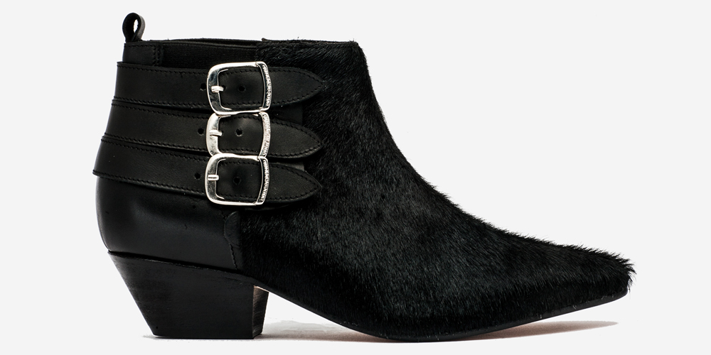Underground England Winklepicker black leather and pony hair three plain buckle boot for men and women