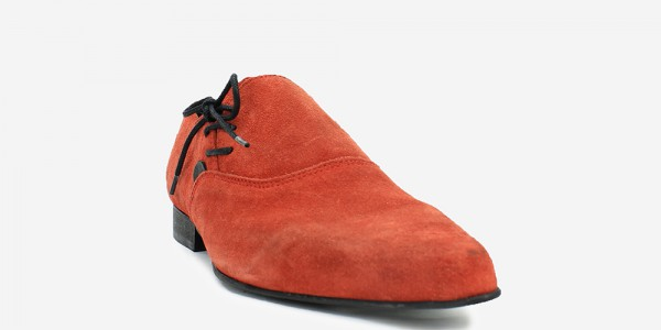 Underground England Henry Winklepicker red suede side lace up shoe for men and women