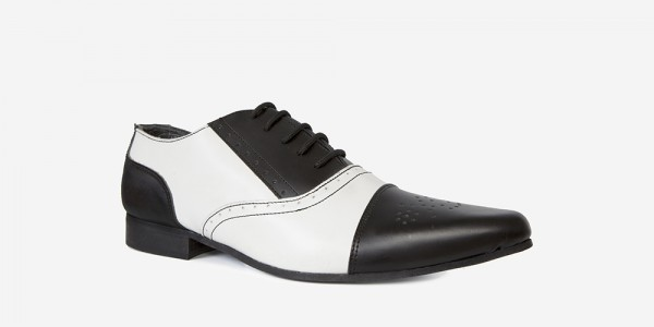Underground England Winklepicker Brogue black and white leather shoe for men and women