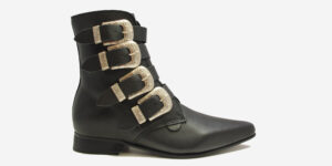 Underground England Peck Winklepicker black grain leather and silver western buckles boot for men and women