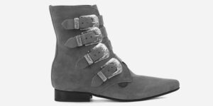 Underground England Peck Winklepicker Grey suede and silver western buckles boot for men and women
