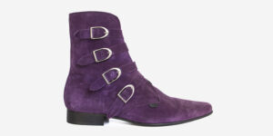 Underground England Peck Winklepicker purple suede and silver plain buckles boot for men and women