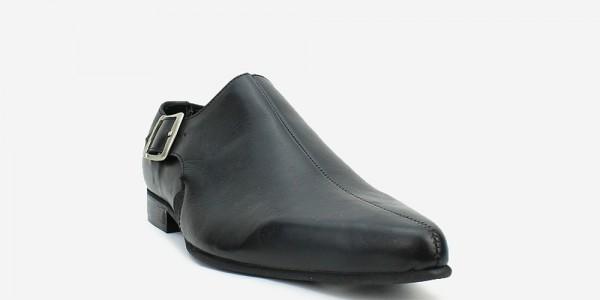 Underground England Winklepicker black grain leather buckle shoe for men and women