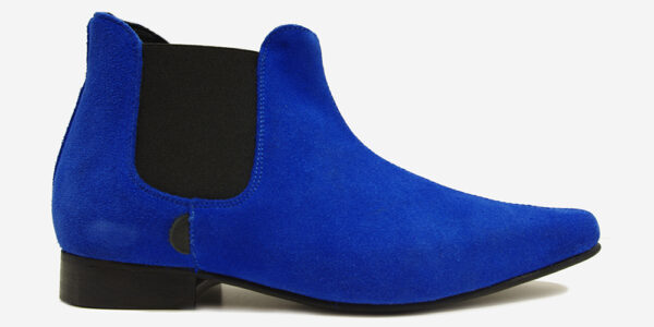 Underground England Winklepicker Chelsea blue suede boot for men and women