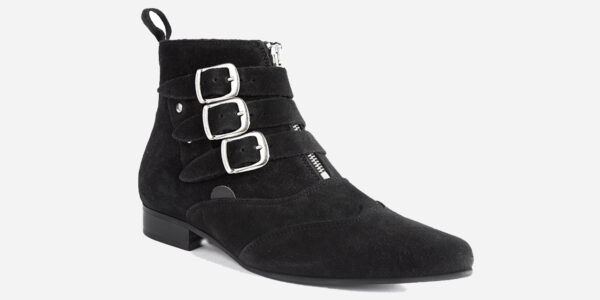 Underground England Winklepicker Blitz black suede leather 3 strap boot with front zip for men and women