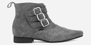 Underground England Winklepicker Blitz grey suede leather 3 strap boot with front zip for men and women