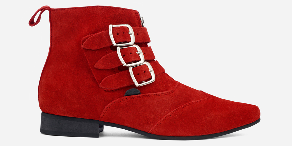Underground England Winklepicker Blitz red suede leather 3 strap boot with front zip for men and women