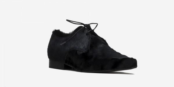 Underground England Paul Winklepicker black pony hair shoe for men and women