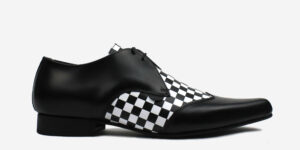 Underground England Paul Winklepicker black leather with chessboard insert shoe for men and women