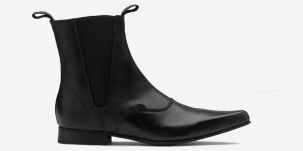 Underground England Winklepicker Chelsea black leather boot for men and women