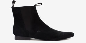 Underground England Winklepicker Chelsea black suede leather boot for men and women