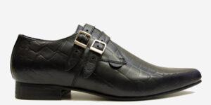Underground England Howard Winklepicker black crocodile embossed leather 2 strap shoe for men and women
