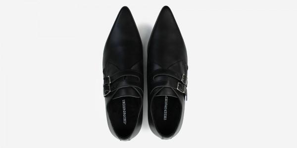 Underground England Howard Winklepicker black suede leather 2 strap shoe for men and women
