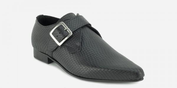 Underground England Jack Winklepicker black snake embossed leather single strap shoe for men and women