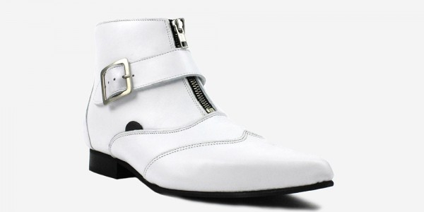 Underground England George Winklepicker white grain leather single strap boots for men and women