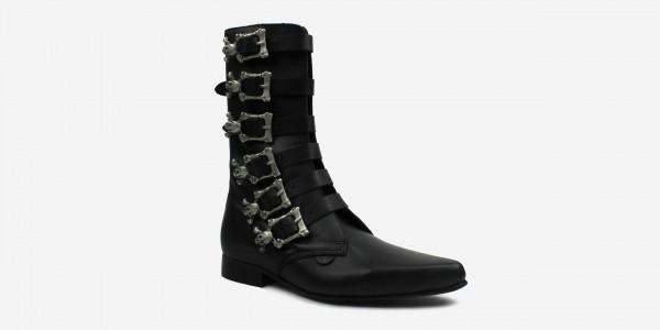 Underground England Bogart Winklepicker black grain leather 6 skull buckle calf boot for men and women