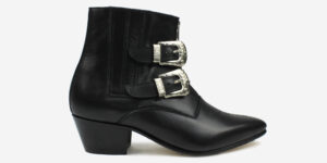 Underground England Winklepicker black grain leather with two western buckles boots for men and women