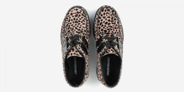 Underground Original Wulfrun Creeper baby pink leopard print pony hair shoe for men and women