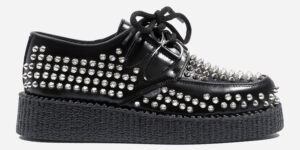 Underground Original Wulfrun Creeper black leather and all over studs shoe for men and women
