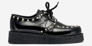 Underground Original Wulfrun Creeper black leather and nickel studs shoe for men and women