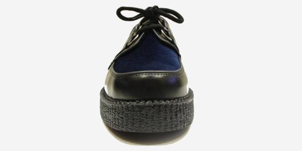 Underground Original Wulfrun Creeper black leather and navy velvet shoe for men and women