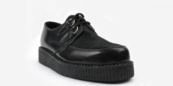 Underground Original Wulfrun Creeper black leather and black pony hair shoe for men and women