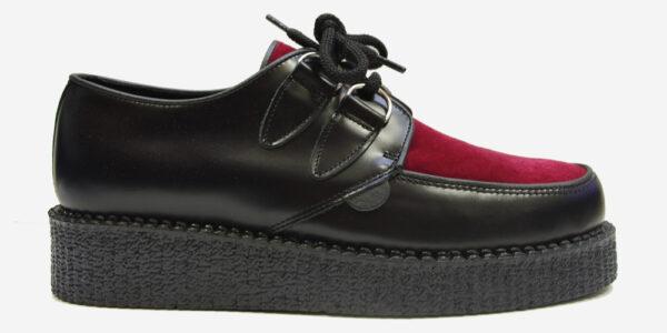 Underground Original Wulfrun Creeper black leather and burgundy velvet shoe for men and women