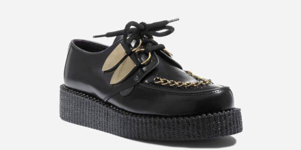 Underground Original Wulfrun Creeper black leather and gold chain shoe for men and women