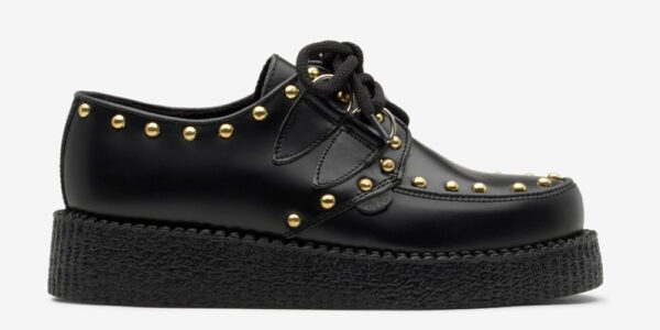 Underground Original Wulfrun Creeper black leather and gold studs shoe for men and women