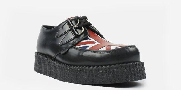 Underground Original Wulfrun Creeper black leather and Union Jack shoe for men and women